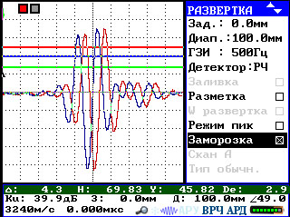Наложение «замороженного» сигнала на текущий сигнал