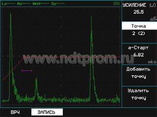 Кривая ВРЧ в дефектоскопе УСД-50